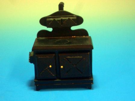家具 キッチン・ダイニング家具 キッチン  ストーブ/ オーブン (2327) Black Wooden Stove, 5 Hotplates, 2 Ovens Width: 82mm Depth: 56mm Height: 114mm