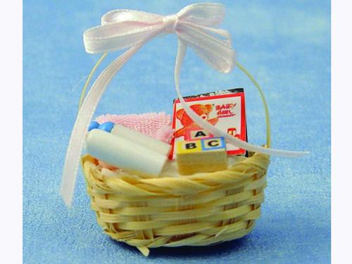 リビング小物 ナーサリー /キッズ小物 赤ちゃんセット ピンク 英国より直輸入  12分の1サイズの ドールハウス・アクセサリーです。