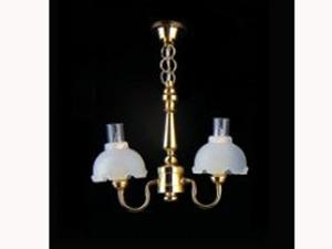 照明器具 天井(シーリング)用 照明 天井用 吊り下げ 2灯 英国より直輸入  12分の1サイズの ドールハウス用照明です。