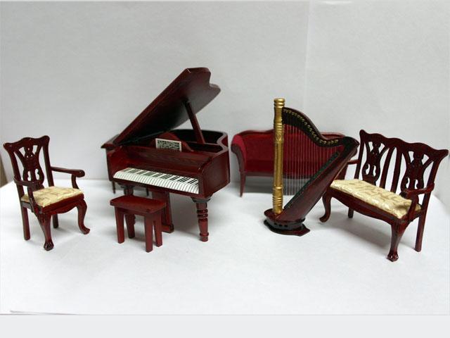家具 その他 ミュージックルームセット(DF817) 英国より直輸入  12分の1サイズの ドールハウス家具です。