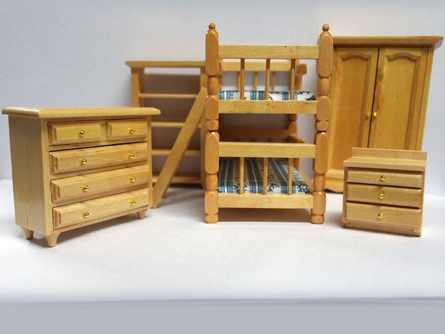 家具 ナーサリー /キッズ家具 ベッドルームセット(DF817) 英国より直輸入  12分の1サイズの ドールハウス・アクセサリーです。