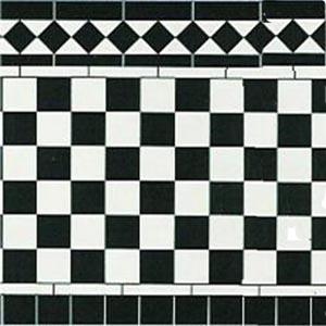 DIY建材 床 壁紙 光沢厚紙 278x86mm  Black & White 1/12サイズのドールハウス用厚紙です。