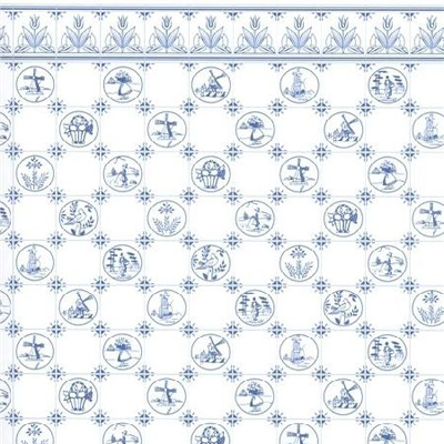 DIY建材 壁紙 室内 壁紙 A3 (297 × 420 ミリ) Dutch Blue タイル 1/12サイズのドールハウス用壁紙です。かなり分厚くてしっかりした上質の紙です