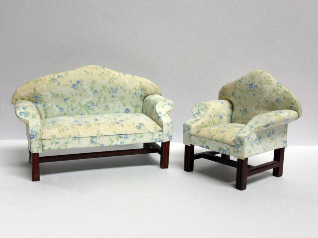 家具 ソファー・チェア類 ソファー セット 展示品 英国より直輸入  12分の1サイズの ドールハウス家具です。