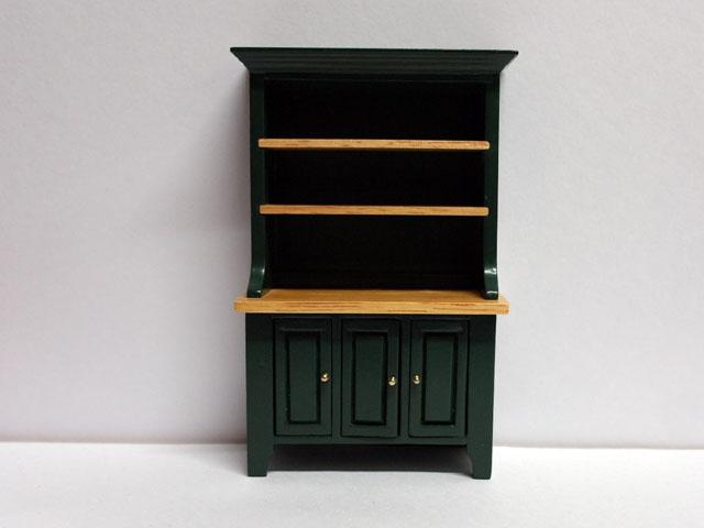 家具 キッチン・ダイニング家具 キッチン カップボード(ドレッサー) グリーン 英国より直輸入  12分の1サイズの ドールハウス家具です。