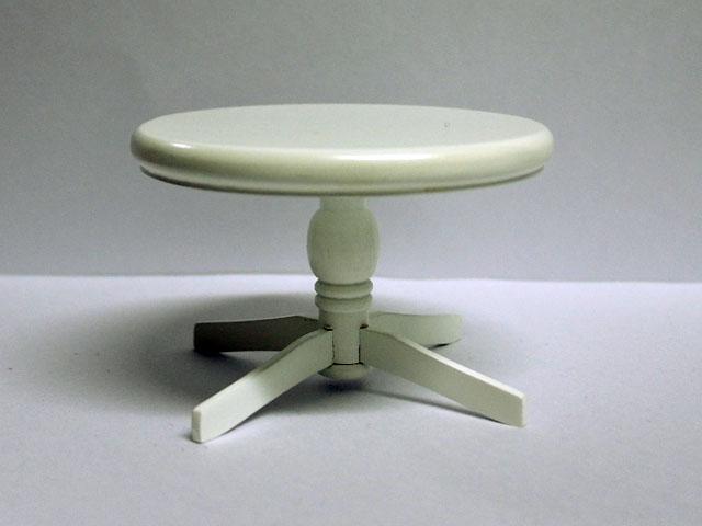 家具 キッチン・ダイニング家具 ラウンド テーブル 白 英国より直輸入  12分の1サイズの ドールハウス家具です。
