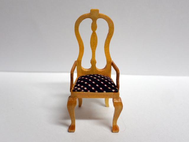 家具 ソファー・チェア類 キッチン チェア 柄座面 パイン 英国より直輸入  12分の1サイズの ドールハウス家具です。