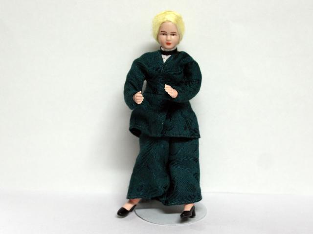 ビスクドール  ビスクドール 婦人 グリーン 12.3cm