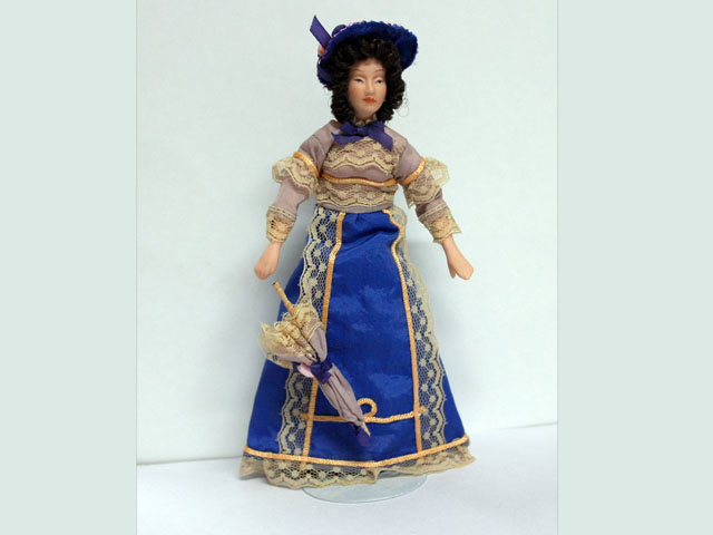ビスクドール  ビスクドール 婦人 パープル 15.8cm
