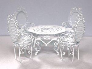 画像1: ガーデン テーブル セット ワイヤー