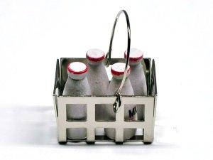 画像2: ミルク(牛乳)・ボトル4本&メタル・バスケット