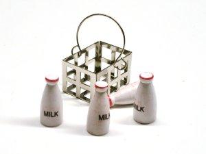 画像4: ミルク(牛乳)・ボトル4本&メタル・バスケット