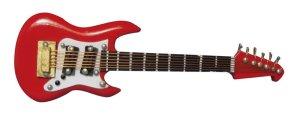 1/12サイズのドールハウス用ミニチュア ワッシュバーン ギター レッド