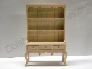 画像1: ドレッサー(食器飾り棚) クィーン・アン 未塗装
