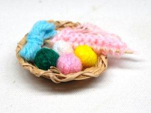 画像1: 編み物セット&かご