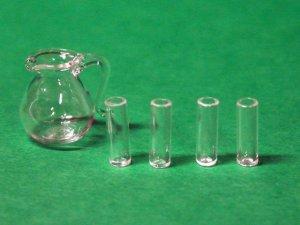 画像1: ガラス ピッチャー &グラス4個セット