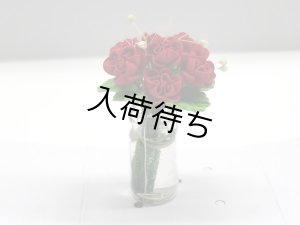 """1/12サイズのドールハウス用ミニチュア ガラス花瓶入り""""バラ"""" レッド"""