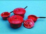 ソースパン(鍋) セット エナメル・赤