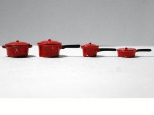 画像2: ソースパン(鍋) セット エナメル・赤