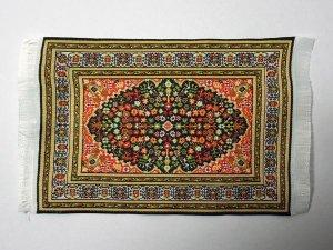 画像1: ラグ 機械織り  10 x 14cm (フリンジ込み16.3cm)
