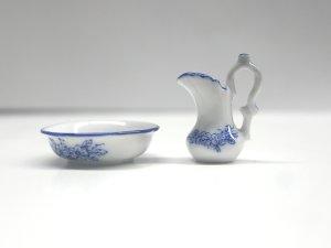 画像2: 洗面器&ジャグ ホワイト/ブルー