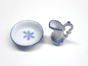 画像3: 洗面器&ジャグ ホワイト/ブルー