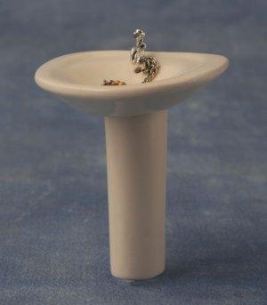 1/12サイズのドールハウス用ミニチュア 足付洗面台(水道蛇口・栓付)半円
