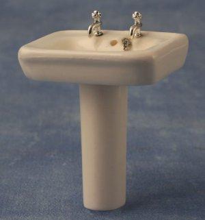1/12サイズのドールハウス用ミニチュア 足付洗面台(水道蛇口・栓付)四角